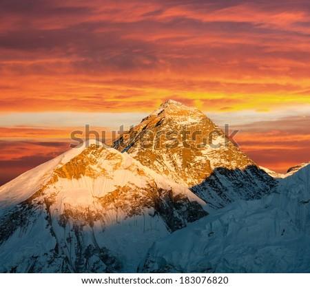 Evening view of Everest from Kala Patthar - trek to Everest base camp - Nepal  - stock photo