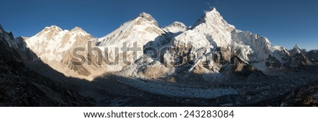 Evening view of Everest from Pumo Ri base camp - Way to Everest base camp - Nepal  - stock photo