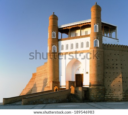 evening view of fortres Ark - Ark entrance - City of Bukhara - Uzbekistan