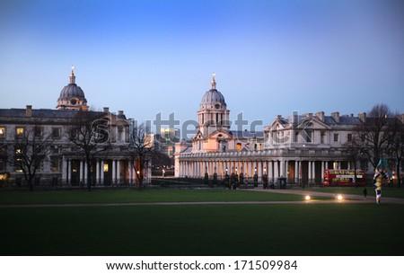 Evening view of Greenwich London UK - stock photo