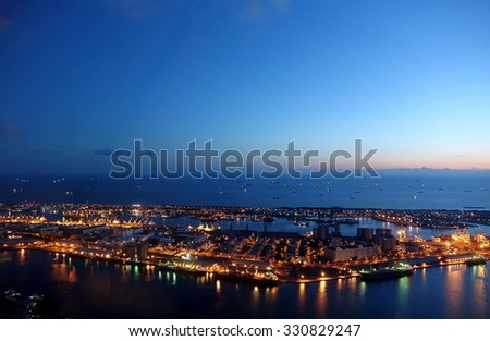 Evening view of Kaohsiung Port and Chijin Island