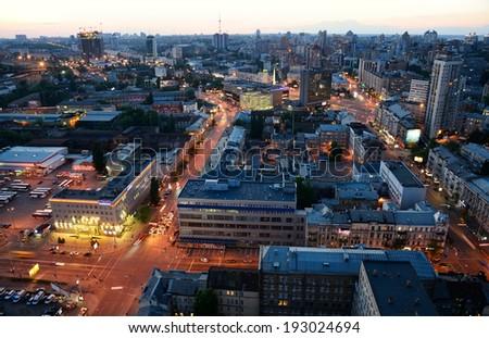 Evening view of Kiev city - stock photo