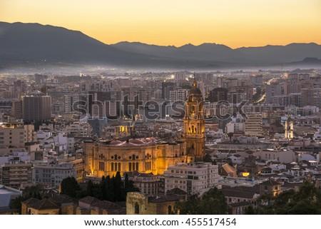 Evening View of Malaga from the Alcazaba - stock photo