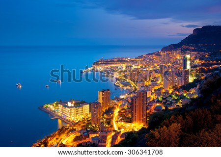 Evening view of Montecarlo, Monaco, Cote d'Azur, Europe - stock photo