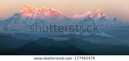 Evening view of mount Annapurna - nepal  - stock photo