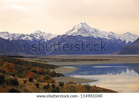 Evening View of Mount Cook and Pukaki lake, New Zealand - stock photo