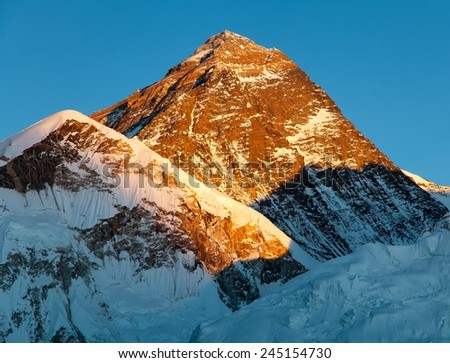 Evening view of Mount Everest from Kala Patthar - way to Everest base camp - Nepal - stock photo