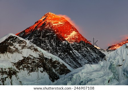 Evening view of Mount Everest from Kala Patthar - way to Everest base camp - Nepal