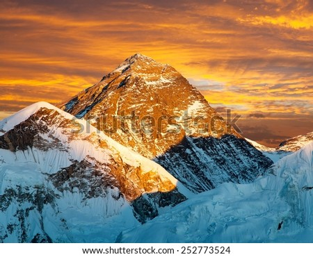 Evening view of Mount Everest from Kala Patthar with beautiful clouds- trek to Everest base camp - Nepal - stock photo