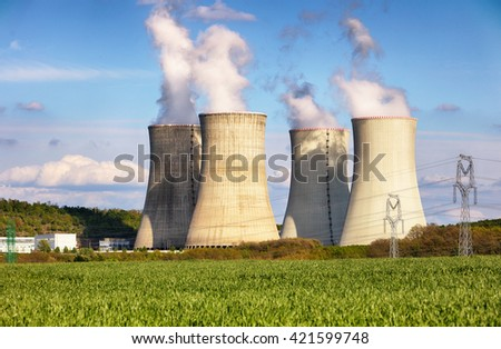 Evening view of Nuclear power plant - stock photo