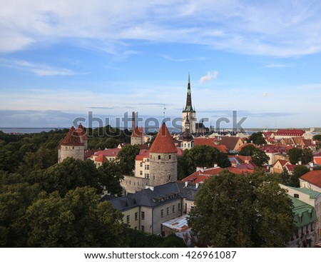 Evening view of old city, Tallinn, Estonia