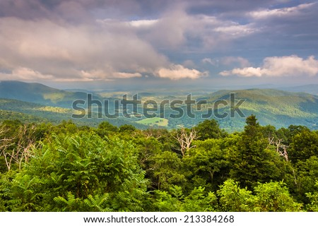 Evening view of Piedmont from Skyline Drive in Shenandoah National Park, Virginia. - stock photo