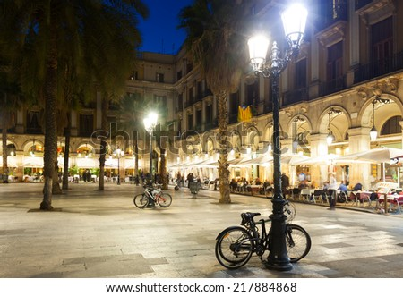 evening view of Placa Reial in winter. Barcelona, Spain - stock photo