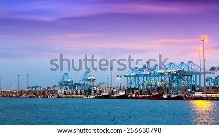 Evening view of  Port of Algeciras - one of  largest ports in Europe  - stock photo