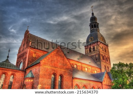 Evening view of Riga Cathedral - Latvia - stock photo
