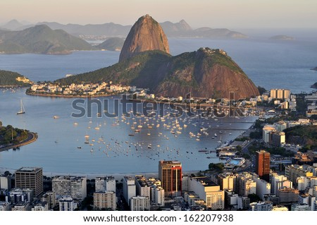 Evening view of Rio de Janeiro's famous landmark Sugarloaf located in Brazil - stock photo