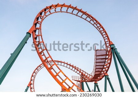 evening view of rollercoaster in thailand - stock photo