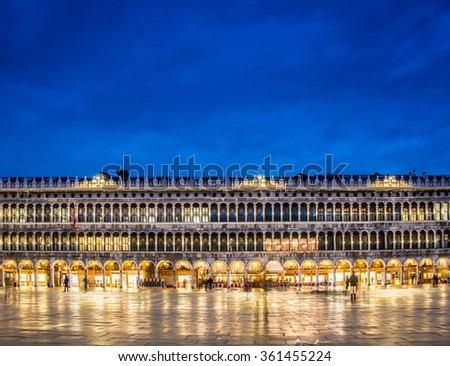 Evening view of saint mark square in Venice, Italy - stock photo