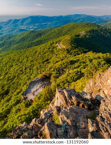 Evening view of Shenandoah National Park and Skyline Drive from Little Stony Man Mountain, VA. - stock photo