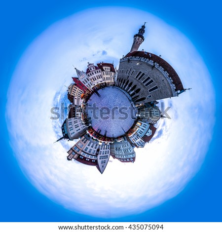 Evening view of Tallinn Town Hall Square or Old Market Square, Estonia. 360 degree miniplanet  - stock photo