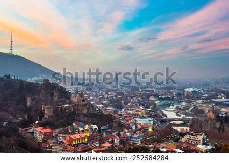 Evening view of Tbilisi with Narikala Fortress, Georgia - stock photo