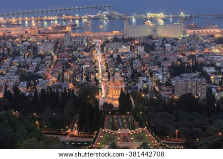 Evening view of the Bahai Garden and Haifa, Israel