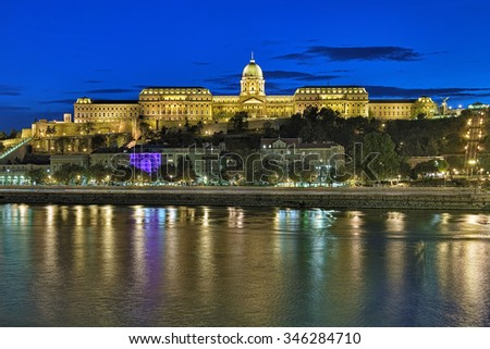Evening view of the Royal Palace in the Buda Castle of Budapest, Hungary - stock photo