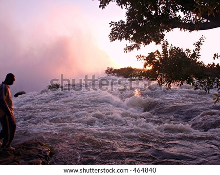 Evening view of the spray at the edge of the Victoria Falls Zambia