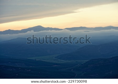 Evening view of valley near Sabie, South Africa