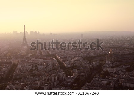 Evening view on Eiffel tower in Paris, France. Panoramic image with copyspace - stock photo