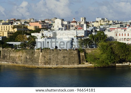 Evening view on old San Juan, Puerto Rico - stock photo