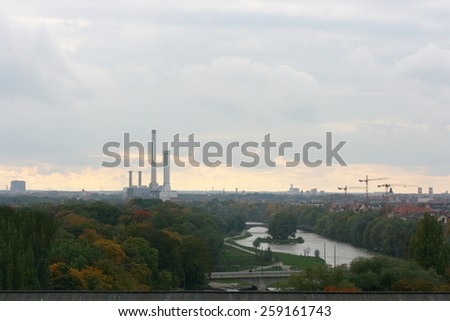Evening view over Munich, Bavaria, Germany