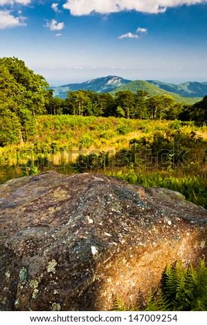 Evening view toward Old Rag from Thoroughfare Overlook, on Shenandoah National Park, Virginia. - stock photo