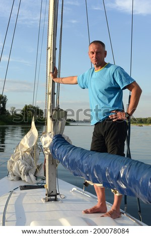 Evening walk on a yacht - stock photo