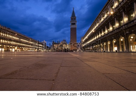 Evening wide view of Piazza Sao Marco in Venice - stock photo