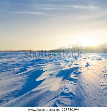 evening winter scene - stock photo