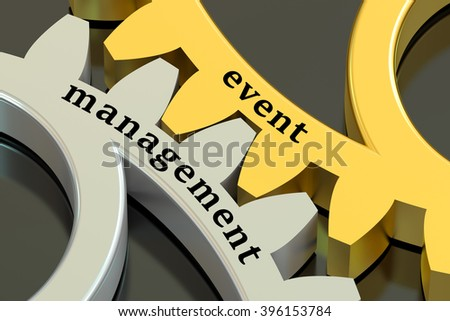 Event Management concept on the gearwheels, 3D rendering - stock photo