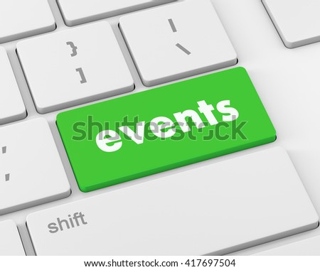 events button on the keyboard - holiday concept, 3d rendering