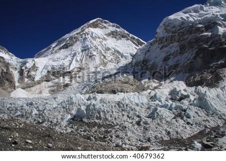 Everest Base camp and the Khumbu icefall - stock photo