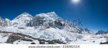 Everest base camp area panoramic view. Extreme resolution