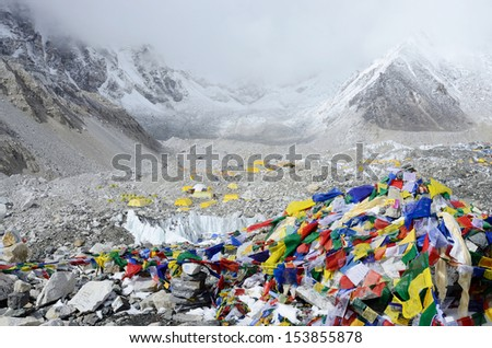 EVEREST BASE CAMP, NEPAL - APRIL 22: Final path marker with traditional colourful tibetan flags showing way to Everest Base Camp on 22 April, 2013 in Nepal,Asia.This trek-popular touristic route