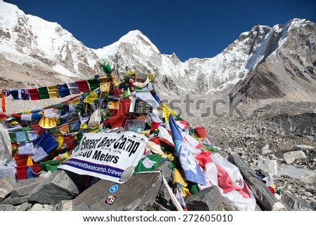 EVEREST BASE CAMP, NEPAL, 14th NOVEMBER 2014 - view from Mount Everest base camp with rows of buddhist prayer flags - sagarmatha national park, way to Everest base camp - Nepal - stock photo