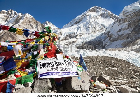 EVEREST BASE CAMP, NEPAL, 14th NOVEMBER 2014 - view from Mount Everest base camp with rows of buddhist prayer flags - sagarmatha national park, way to Everest base camp - Nepal
