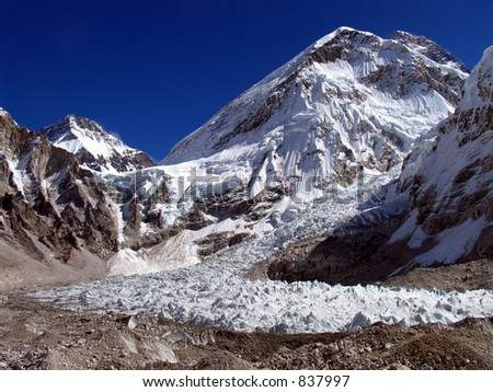 Everest base camp south (aprox 5500m altitude), the begining of all expeditions to the summit. It's also the Everest glacier. Everest is the black summit on the top right