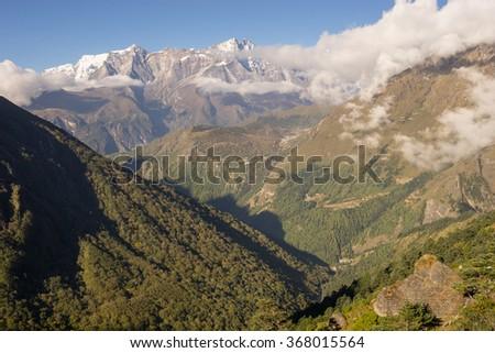Everest base camp trekking landscape, Everest region, Nepal - stock photo
