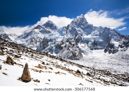 Everest Mount and Nuptse Mount view from Kala Patthar. Mountain landscape in Sagarmatha National Park in the Nepal Himalaya. - stock photo