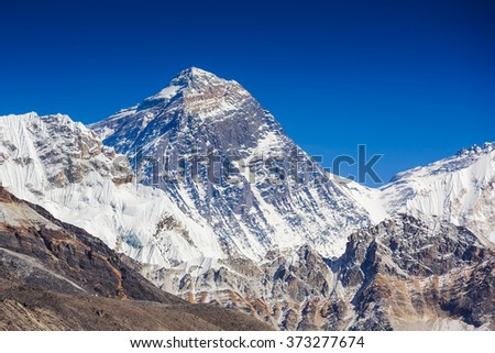 Everest Mountain Peak - the top of the world (8848 m). view of Everest from Gokyo valley, way to Everest base camp, Sagarmatha national park, Khumbu valley, Nepalese Himalayas