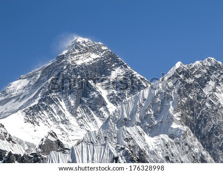 Everest Mountain (Sagarmatha), highest mountain in the world, Nepal.