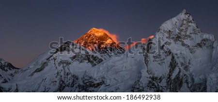 Everest Summit panoramic view Nutpse at sunset. Large resolution