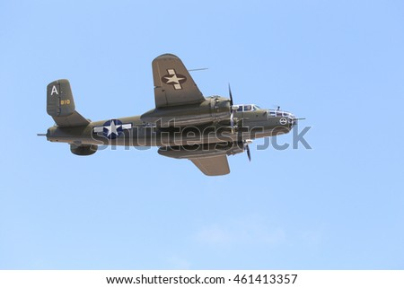 Everett, WA, USA - July 30, 2016: A North American B-25J Mitchell bomber was seen flying over Everett Paine Field.